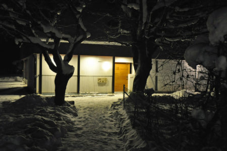 Rheinbundhaus Eingang Schnee